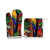 FHTDH Suministros de cocina, guantes de horno y juegos de ollas Animal Colourful Parrots Macaw Oven Mitts Potholder Set for Kitchen Heat Resistant Non-Slip Heat Insulation Gloves Pot Holders Cooking B