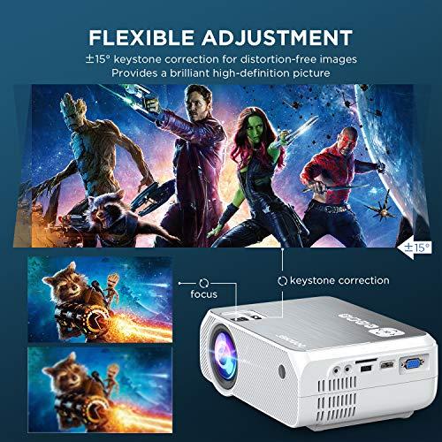 Proyector WiFi, 2020 Actualizado BOMAKER 5000 Lúmenes Resolución Nativa 720P Inalámbrico Mini Cine en Casa Portátil, Soporte Full HD 1080P, Pantalla de 300 Pulgadas, HDMI/USB/VGA/AV/Micro SD, GC355 miniatura