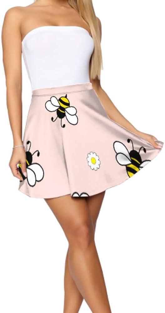Mini Skater Skirt Bee Hardworking Double Wings Insect Mini Skater Skirt for Girls Women's Basic Casual Skater Skirt for Teen Girls S-XL