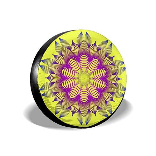 MOLLUDY Spare Tire Cover Tire Spare wheel cover Oriental Mandala Floral Ornament Yellow Spare wheel cover 14/15/16/17 inch