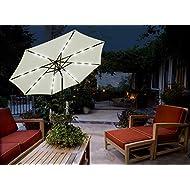 GlamHaus Garden Parasol Tilting Table Umbrella, Solar Lights, 2.7m, UV40+ Protection, Gardens, Patios (Cream)