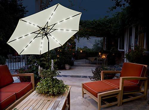 GlamHaus Garden Parasol Tilting Table Umbrella, Solar Lights, 2.7m, UV40+ Protection, Additional Parasol Protection Cover, Gardens, Patios (Cream)