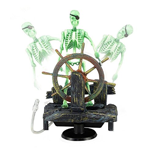 Bestgle Aquarium Ornament Air-Driven Active Skeleton Pirate Captain for Fish Tank Decoration