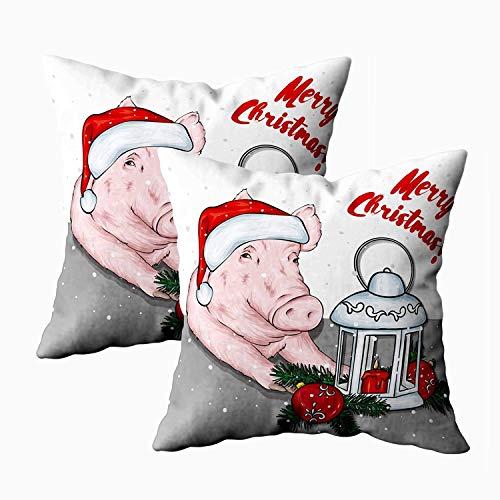 Grappig varken in kerstmuts met vintage lantaarn wenskaart poster kussenhoezen 45x45, vierkante kussenhoezen pak van 2, gooi kussensloop cover decoratief, met rits, voor slaapbank, oranje zwart