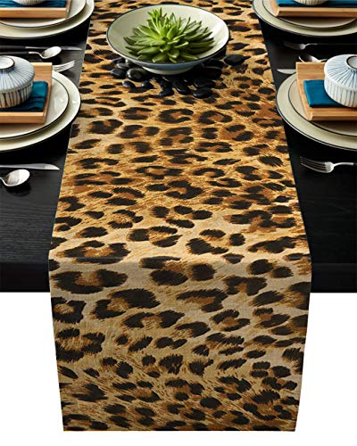 Flouky Non-Slip Heat Resistant Burlap Table Runner,Elegant Leopard Prints Table Runners for Catering Events,Dinner Parties,Wedding,Spring Holiday,Indoor and Outdoor Parties,13x90in