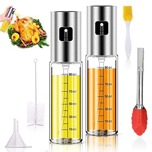 ATROPOS - Juego de 2 pulverizadores de aceite de oliva para cocinar aceite recargable y vinagre dispensador de botella de vidrio con medidas, con cepillo de botella de spray de aceite, cepillo de hilo, embudo de aceite y 2 clips de silicona para barbacoa