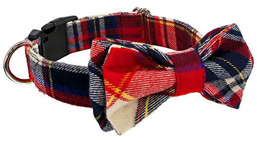 Kebs Kebocis Dog Bow Tie Collar with Detachable Bowtie Adjustable Plaid Neck Tie for Large Dogs, Red