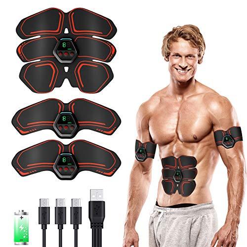 KNMY EMS Trainingsgerät, Muskelstimulator Bauchmuskeln Toner mit 10 Modi und 20 Intensitä, USB Wiederaufladbar & LCD Bildschirm Trainingsgeräte Maschine für Männer & Frauen