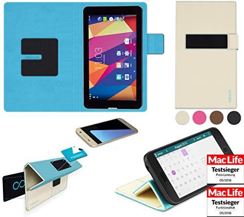 reboon Hülle für Captiva Pad 7 3G Kommunikator Tasche Cover Case Bumper | in Beige | Testsieger