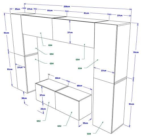 FUTURE 3 Zeitnah Wohnwand Wohnzimmer Möbelset, Anbauwand Schrankwand Möbel Set, Exklusive Unterhaltungseinheit Mit Regalen, Neue Suite, TV-Ständer / Schrank / Regal, Drücken Sie auf Öffnen / Standardgriff Wandschränke, Matte / Hochglanz, Schwarz / Weiß / Mehr Farben, Gratisversand (RGB LED Beleuchtung Vorhanden) (Schwarz MAT base / Schwarz MAT front, Möbel) - 2