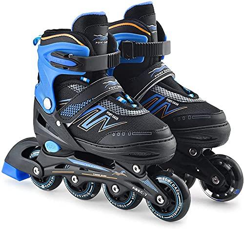 Patines en línea ajustables Patines en línea al aire libre Patines en línea Cuchillas con ruedas intermitentes Zapatos de patinaje de velocidad para niños/adultos/principiantes, rosa L-L_azul