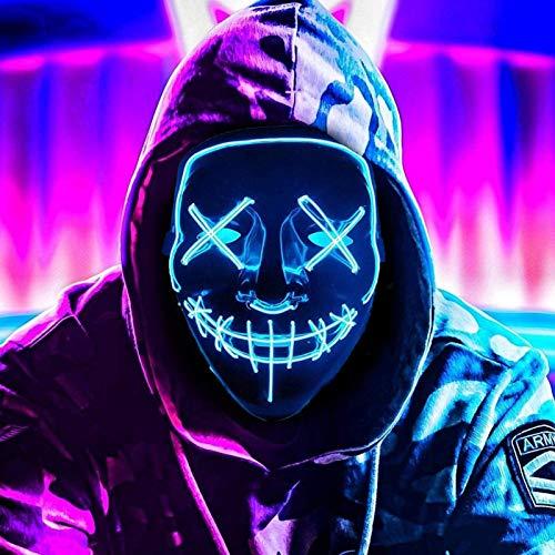 AuLinx LED Maske Karneval,Grusel Purge Mask Dunkeln Leuchten,für Fasching Carnival KostüMspiele Cosplays Feste Partys und Deko Requisiten für Erwachsene MäNner Und Frauen