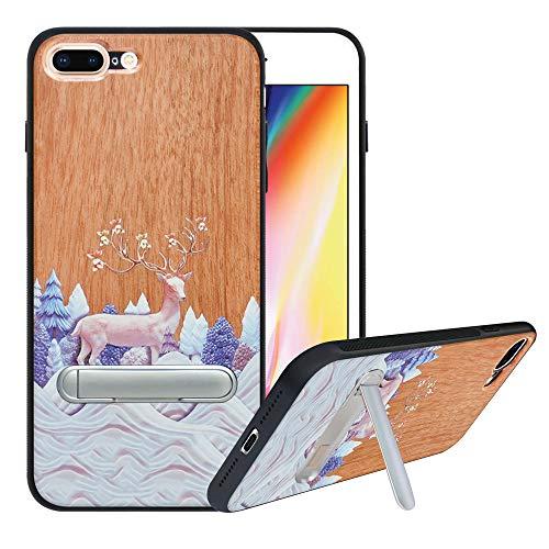 HHDY iPhone 8 Plus Cover Con Naturale Legno per iPhone 7 Plus Custodia Protettiva con Supporto Cavalletto Con Metallo,TPU Bumper Case Custodia per iPhone 7 Plus/iPhone 8 Plus, Deer