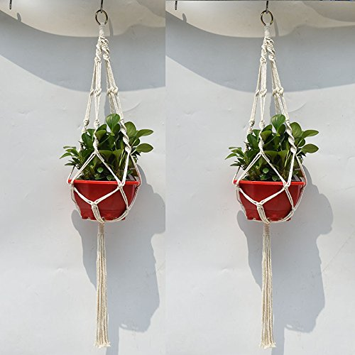 Generic 4 Legs Handmade Crude Cotton Flower Pot Decorations Hanging Basket Plant Hanger Rope with Iron Coils