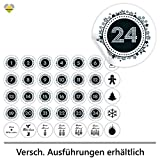 cute-head 24 Adventskalender-Zahlen + 11 Motive (Aufkleber Etiketten Sticker) | Snow Sphere Button |...