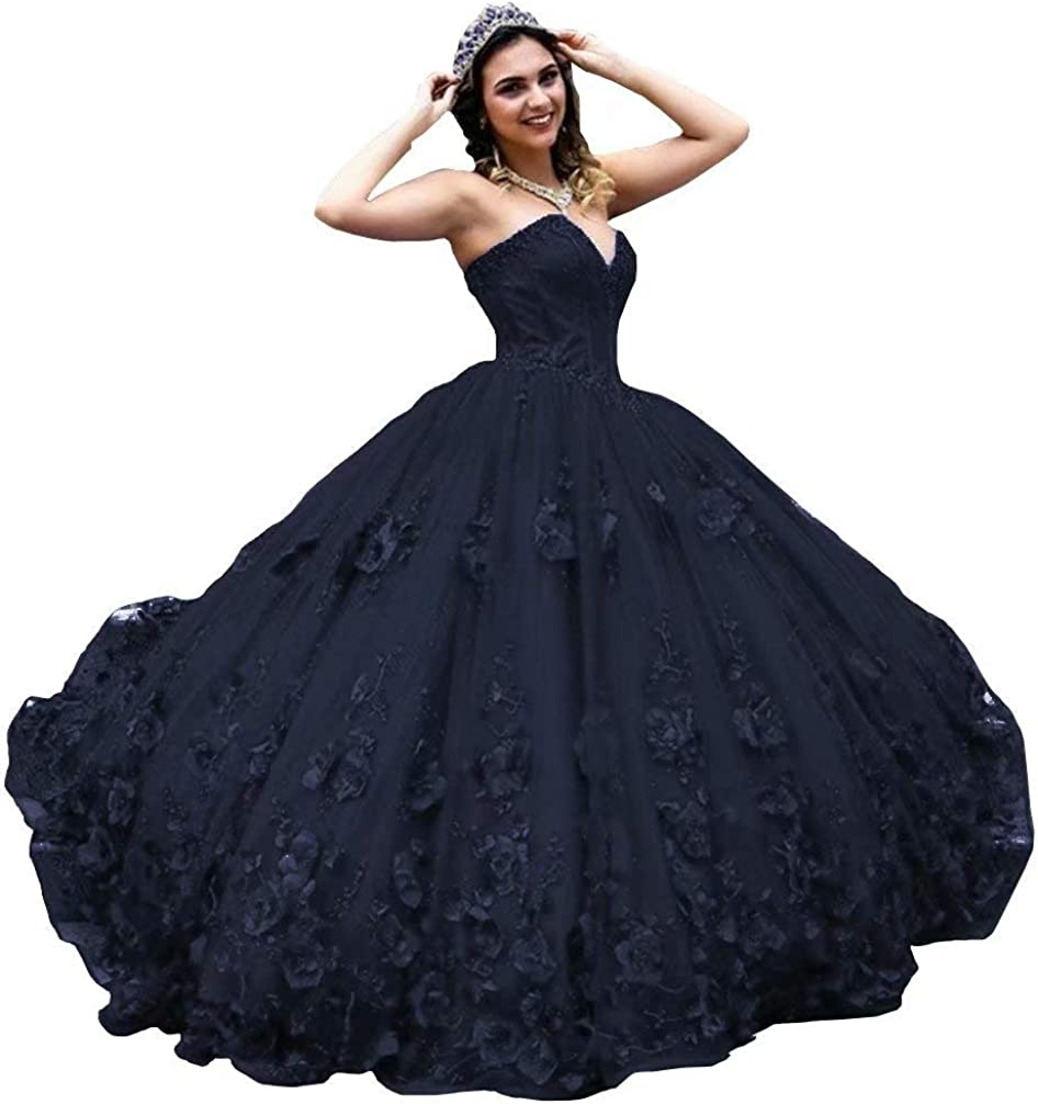 Pearls 3D Flowers Lace Quinceanera Dresses Strapless Ball Gown Prom Sweet 16 Dress 2021