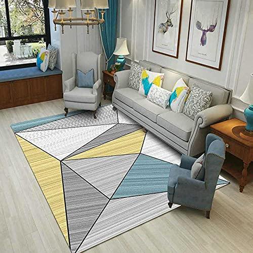 CCTYJ Amarillo Cian Gris geométrico triángulo patrón Suave Antideslizante Accesorios para el hogar Accesorios Sala de Estar Sala de Estar sofá alfombra-80x120cm Home Alfombra De Salón Moderna De Pelo