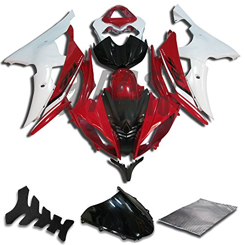 9FastMoto Fairings for yamaha R6 YZF-600 2008 2009 2010 2011 2012 2013 2014 2015 2016 Motorcycle Fairing Kit ABS Injection Set Sportbike Cowls Panels (Red & White) Y0421
