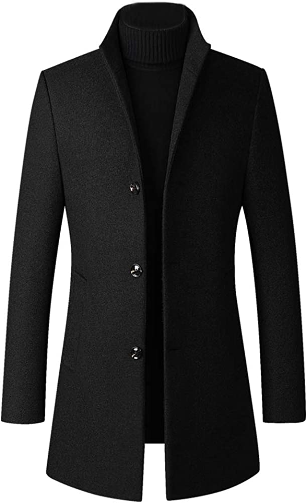 Lavnis Men's Winter Trench Coat Wool Blend Pea Coat Slim Fit Single Breasted Topcoat Business Dowm Jacket