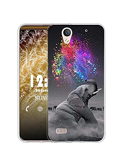 Sunrive Kompatibel mit Sony Xperia C4 Hülle Silikon, Transparent Handyhülle Schutzhülle Etui Hülle (Q Elefant 2)+Gratis Universal Eingabestift MEHRWEG