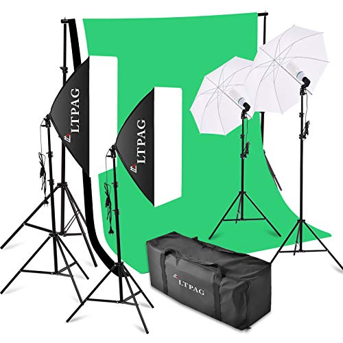LTPAG 2mx3m Kit de sistema de soporte de fondo,3X Pantalla verde Softbox fotográfico profesional con trípode 2M Softbox Juego de paraguas de luz continua, para fotografía, retratos, grabación de video