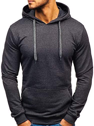 Bolf 1A1 Sweat-shirt à capuche pour homme avec fermeture éclair Couleurs variantes Sweat à capuche pour loisirs d'entraînement Gym Fitness Unisexe - Noir - Medium