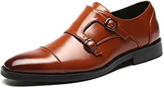 HUAHs0 Classic Oxford for Men Formal Wedding Shoes with Dual Monk Straps Slip on PU Leather Stitch Burnished Style Patchwork Pointed Toe` (Color : Yellow, Size : 47 EU)