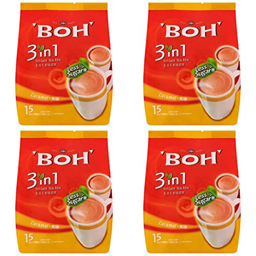 4 Pack BOH 3 in 1 Caramel Instant Mix Tea Less Sweet Imported from Malaysia (4 x 15 Sachets)