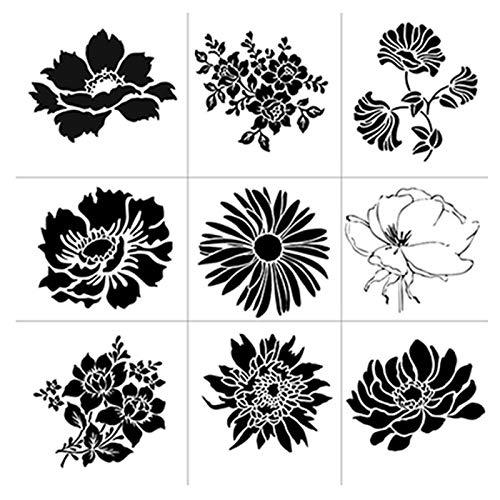 Blumen Zeichenschablonen Schablonen Wiederverwendbar Kunststoff Zeichnung Malerei Schablonen Blume Malschablonen für Stencil Schablonen Fotoalbum für Scrapbooking Backvorlagen Wanddekoration 9 Stück