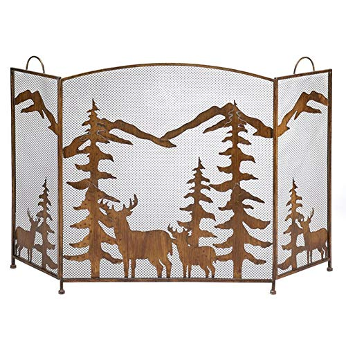Buy Discount ZAQI Bronze Fire Place Panel, Large Decor Standing Gate with Iron Mesh Cover for Baby S...