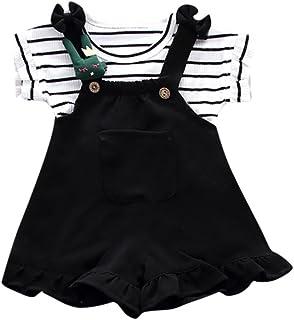 812f2ba7 QinMM Conjunto de Camiseta y Petos Pantalón Corto a Rayas de Verano para  Bebé Niñas,