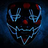 Máscara LED Carnaval, Mascarilla de la fiesta de purga Máscara de iluminación Horror Negro para Halloween y carnaval como traje de disfraces Cosplay Party para hombres y damas (azul)