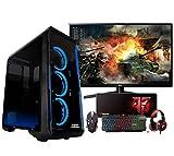 Megamania PC Gaming AMD Ryzen 5 2400G Ordenador sobremesa 3.9GHz Turbo Quad Core | 16GB DDR4 | SSD 128GB + 1TB HDD | Gráfica AMD Radeon Vega RX 11 + Monitor LED FullHD 22' + Kit Teclado ratón Regalo