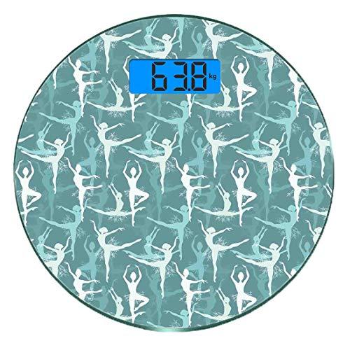 Escala digital de peso corporal de precisión Ronda Clásico Báscula de baño de vidrio templado ultra delgado Mediciones de peso precisas,Baile silueta del cuerpo de bailarinas bailarinas con bailarines