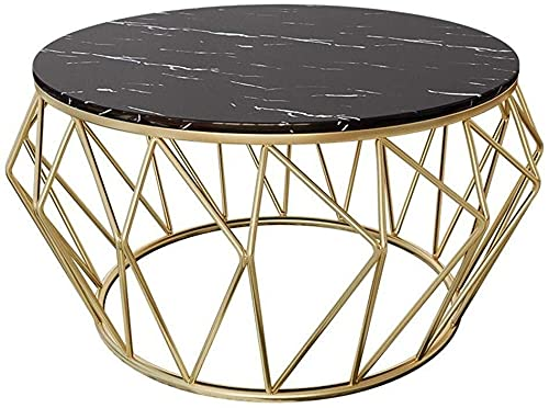 WSHFHDLC coffee table Coffee table living room coffee table black modern coffee table round marble top side table sofa suitable for waiting area hotel desk small coffee tables (Size : 60×60×45cm)
