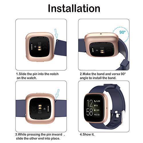 Hianjoo Strap Compatible with Fit Bit Versa/Versa 2 [4 Pack], Adjustable Sport Accessory Wristband Bracelet Replacement for Fit Bit Versa/Versa 2 (Small 5.5-6.7, Black, Pink, Dark Blue, Lake Green)