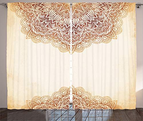 ABAKUHAUS Mandala Rustikaler Vorhang, Oriental Klassiker, Wohnzimmer Universalband Gardinen mit Schlaufen und Haken, 280 x 225 cm, Beige