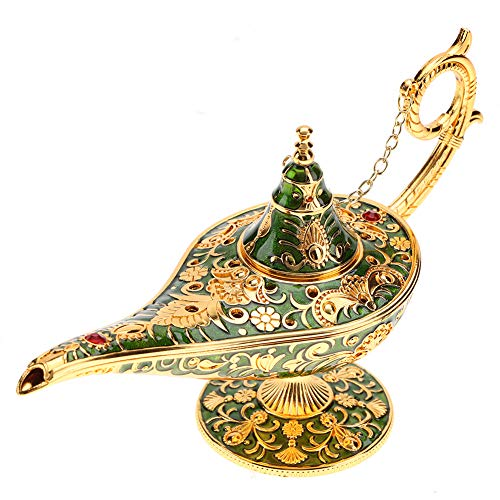 Rodipu Aladdin Lamp, Fadeless Vintage Magical Legend Aladdin'S Genie Lamp, Anti-Rust Anti-Oxidize Themed Party for Home Decoration (green)