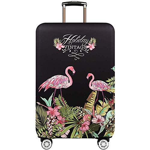 Youth Union スーツケースカバー 伸縮素材 欧米風 キャリーバッグ お荷物カバー (S(18-21 inch luggage), Vintage Flamingo)