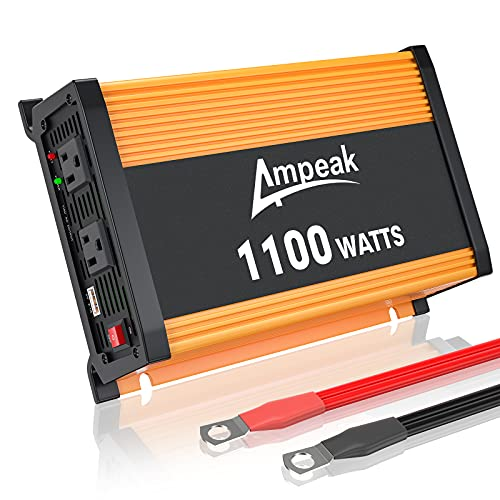 Ampeak 1100W Power Inverter: 12V DC to 110V AC Converter for Car/Truck/RV with 2 AC Outlets and 2.1A USB Charging Port