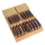 Utoplike Organizador de cuchillos de cocina de bambú con mango grande sin cuchillos, apto para 16 cuchillos y 1 afilador de acero (organizador de 16 cuchillos)