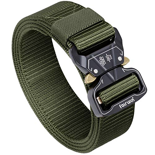 "Fairwin Tactical Belt, 1.5 Inch Wide Heavy Duty Military Style Tactical Belts for men (Green, Waist 36""-42"")"