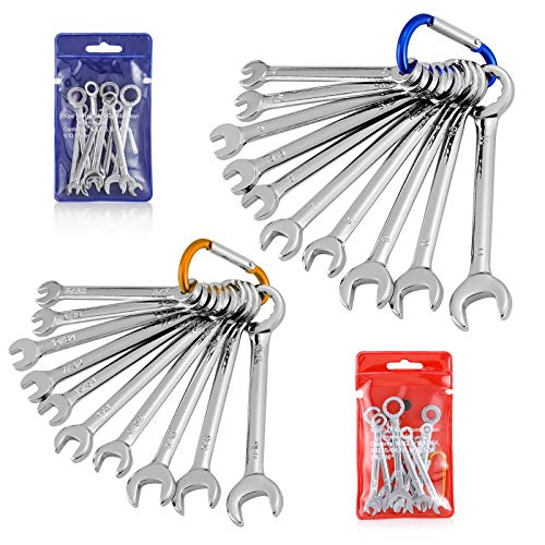 HELAKLS 20-Piece Mini Combination Wrench Set Metric SAE Open Box Ended Small Standard Spanner for Assembling Furniture Equipment With Portable Storage Pouch