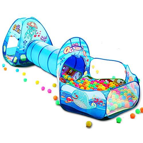 Tienda De Juegos para Niños 3 En 1,con Play Tunnel, Ball Pit,Los Niños Pequeños Gatean por Un Túnel Suave para Interiores Yexteriores Y Una Tienda De Juegos(Pelotas No Incluidas)