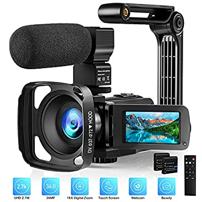 """Video Camera with Microphone 2.7K Camcorder HD 36MP/30FPS YouTube Vlogging Camera IR Night Vision 16X Digital Zoom Digital Recorder with 3.0"""" LCD Touch Screen, Remote Control, Handheld Stabilizer from AiTechny"""