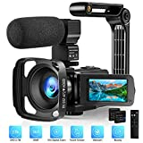 Video Camera with Microphone 2.7K Camcorder HD 36MP/30FPS YouTube Vlogging Camera IR Night Vision 16X Digital Zoom Digital Recorder with 3.0' IPS Touch Screen, Remote Control, Handheld Stabilizer