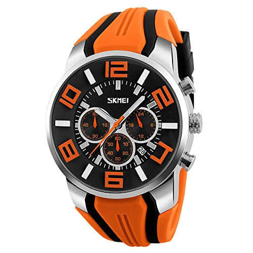 Orologio Cronografo da Uomo Calendario Orologi Sportivo da Polso con Cinturino in Acciaio, Arancione