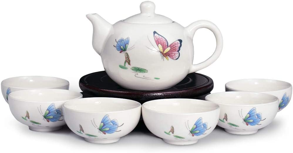 Dahlia Fresno Mall Porcelain Gongfu Tea Set: Teapot Deluxe with infuser + built in