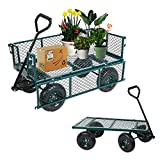 LUCKYERMORE Utility Wagon Cart Steel Garden Cart 550 LBS Weight Capacity Four Side Removable Multifunctional Strong Wagon Lawn Cart Heavy Duty Smooth Wheel for Goods Transporting