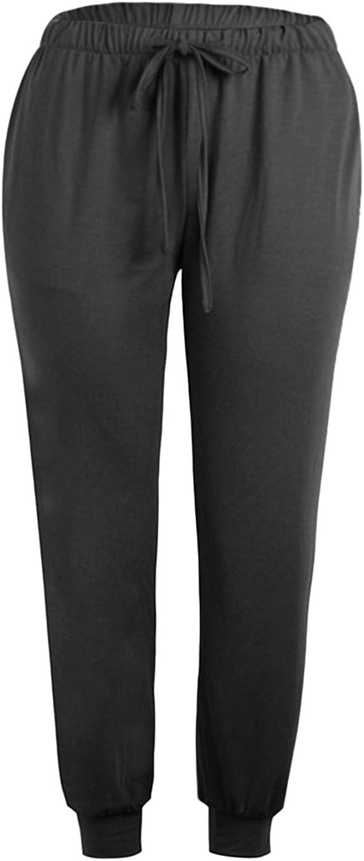 Women's Solid Sweatpants Elastic Waist Loose Long Workout Yoga Jogger Active Pants